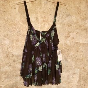 Free People Melbourne Black Floral Print Tank Top